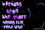 wishing upon a star hoping it'll come true `angell